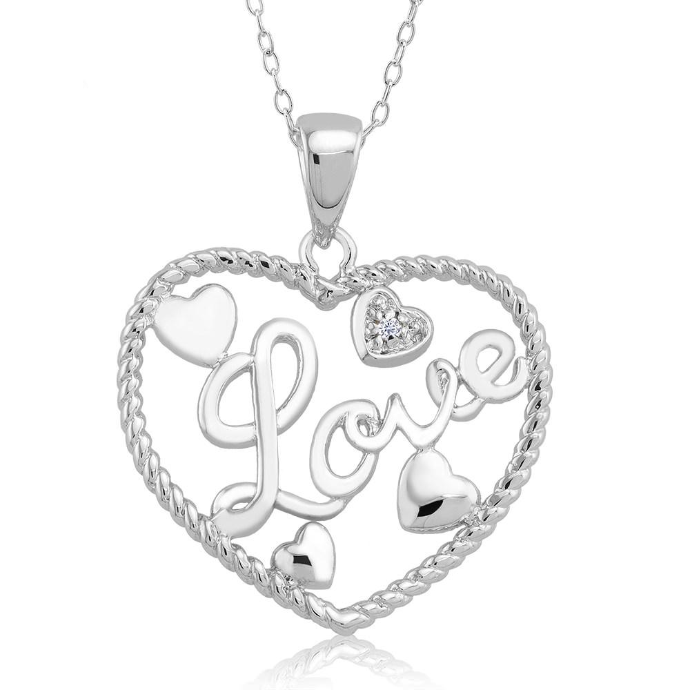 1 10 CTW Diamond Accent Necklace - Mini Heart