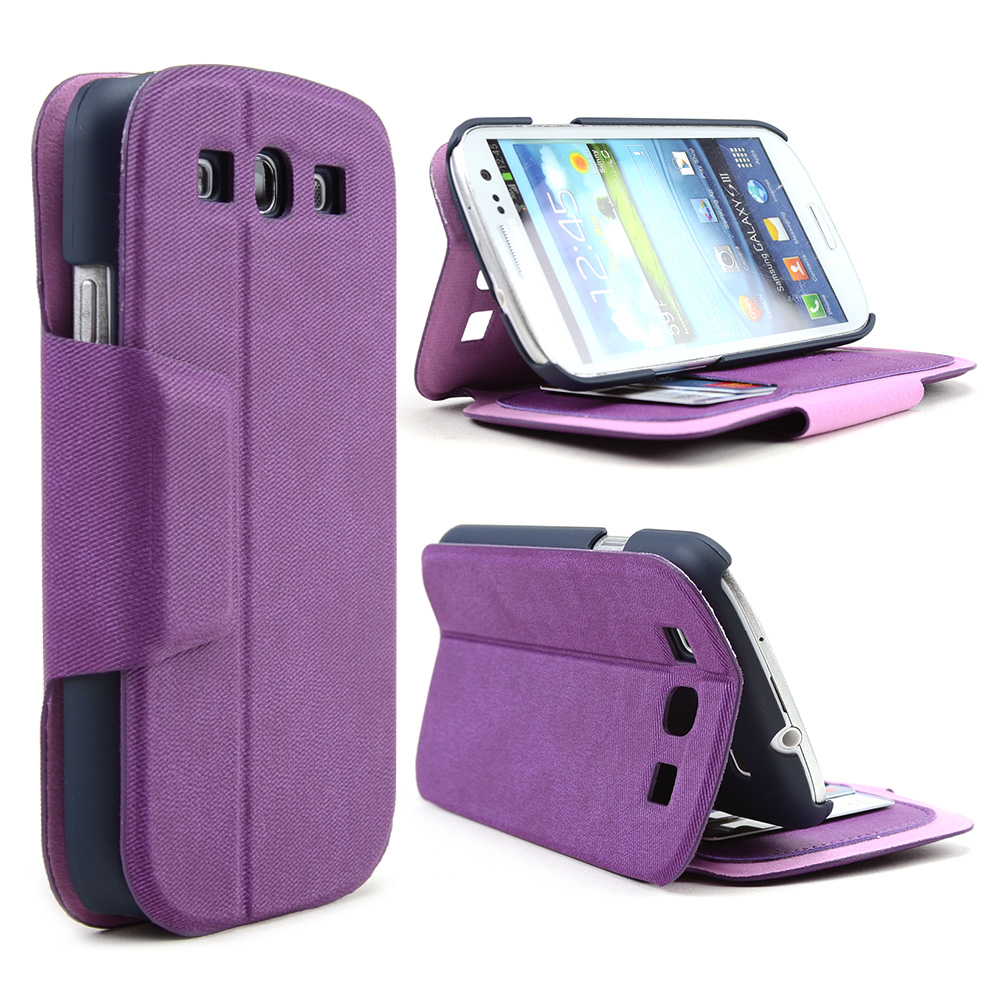 Purple  Black iRoo Faux Leather Diary Flip Cover Hard Case w  ID Slots