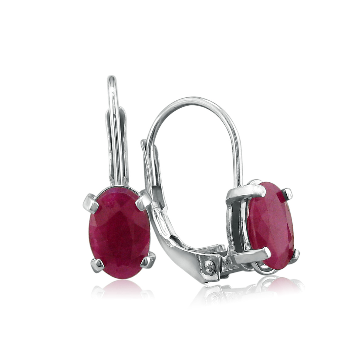 1 1 4ct Oval Ruby Earrings in Sterling Silver