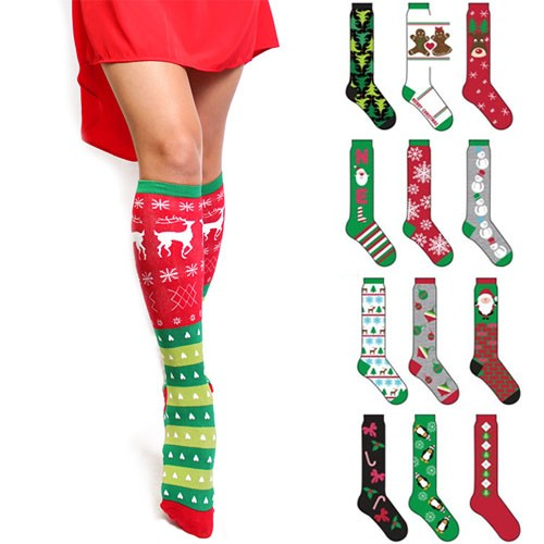 6 Pairs Knee High Christmas Socks - Tanga