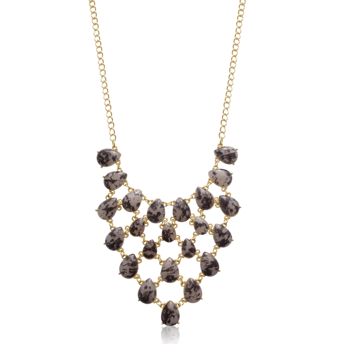 Gold Plated Marble Stone V Bib Necklace - 2 Colors