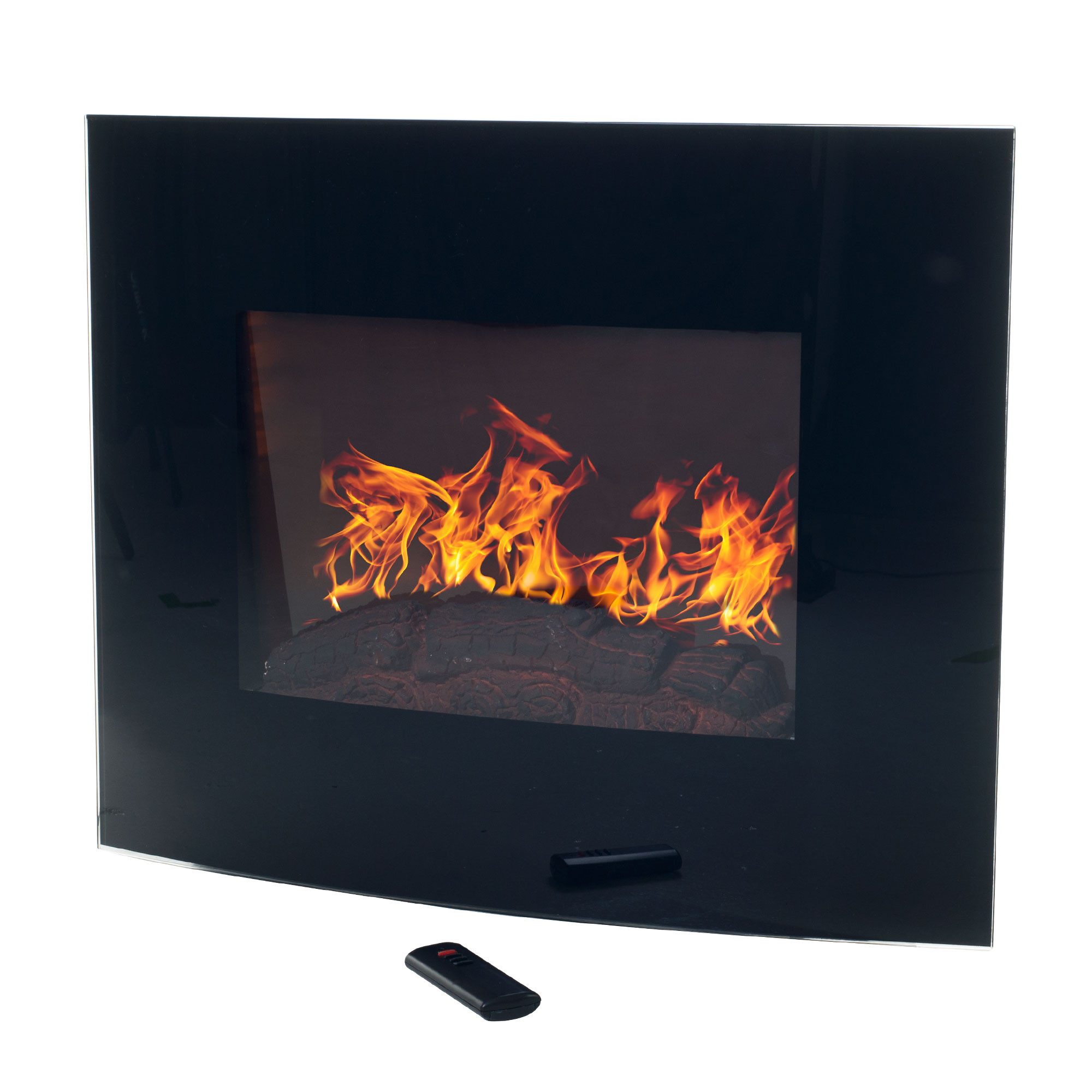 Black Curved Glass Electric Fireplace Wall Mount Amp Remote