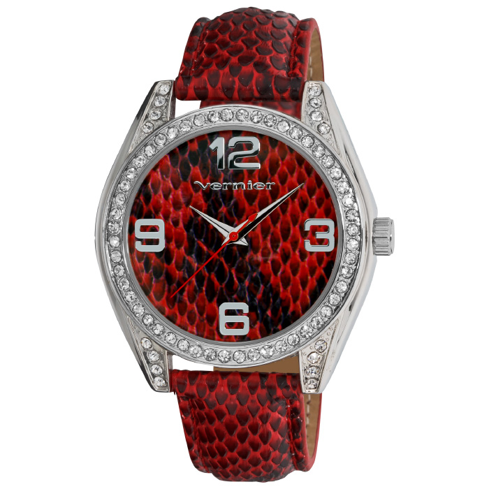 Vernier Women s Dazzling Red Snake Pattern Fashion Watch
