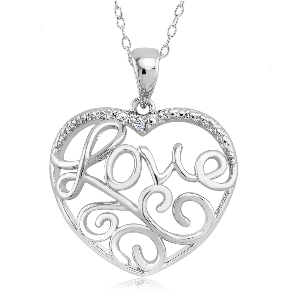 1 10 CTW Diamond Accent Necklace - Leaf Love