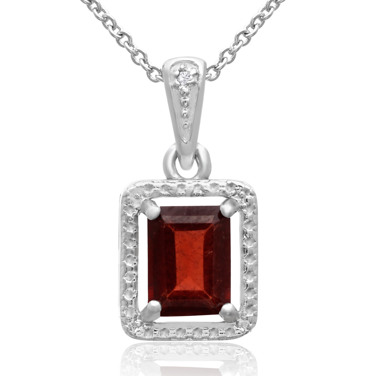 Emerald Shape Garnet and Halo Diamond Necklace