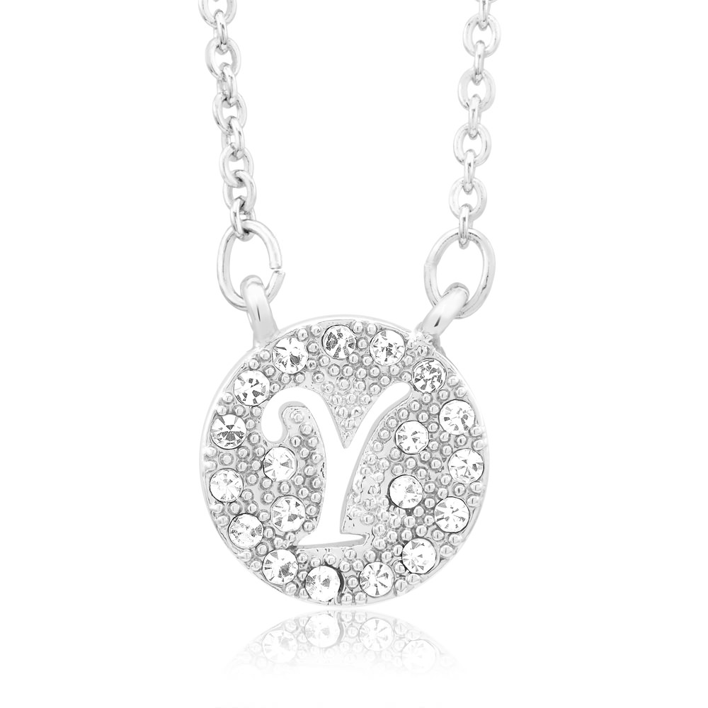 18kt White Gold Plated Swarovski Elements Initial Necklace - Y