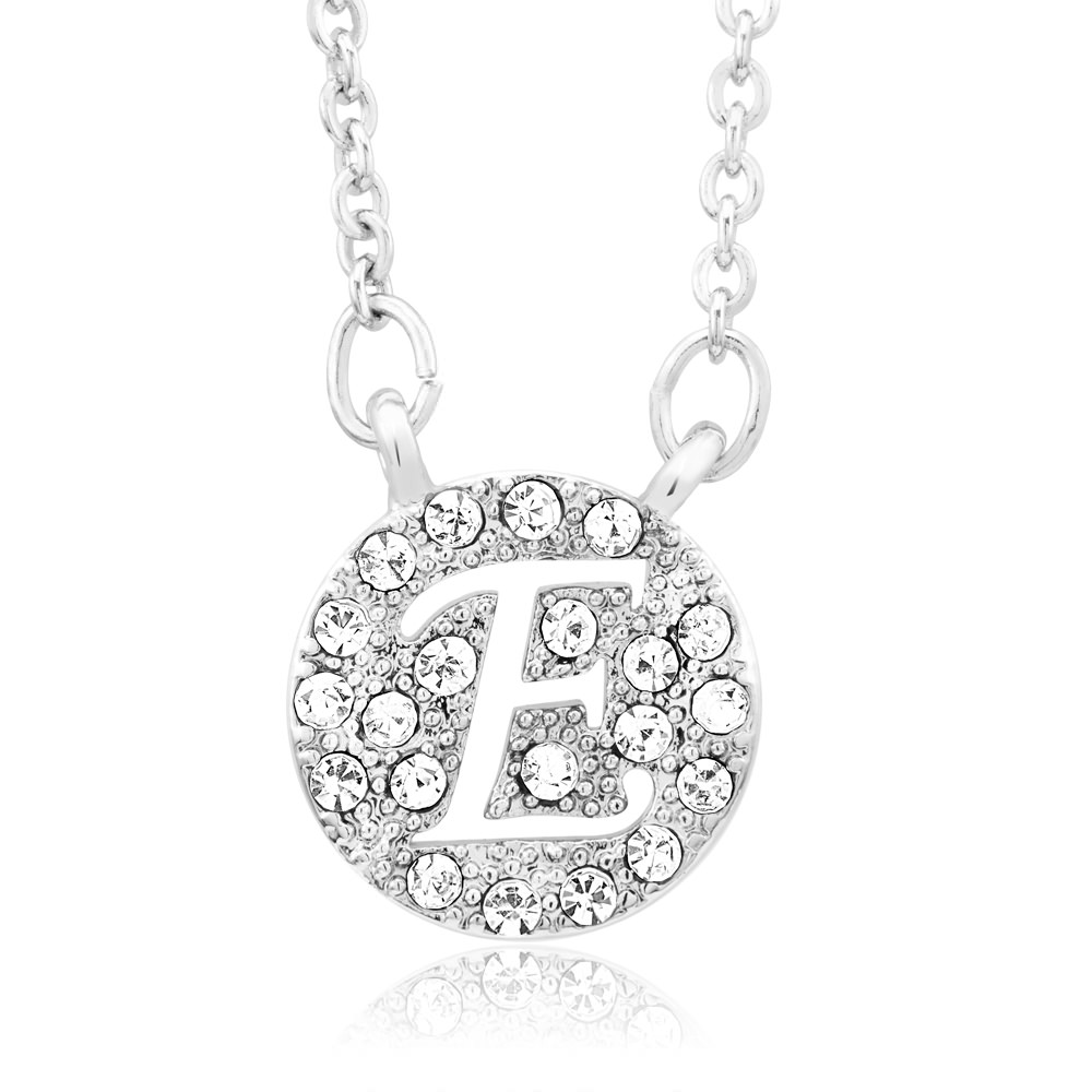 18kt White Gold Plated Swarovski Elements Initial Necklace - E