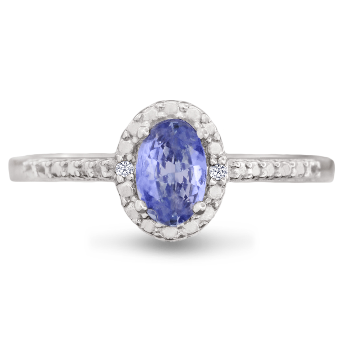 3 8ct Oval Shape Tanzanite and Halo Diamond Ring