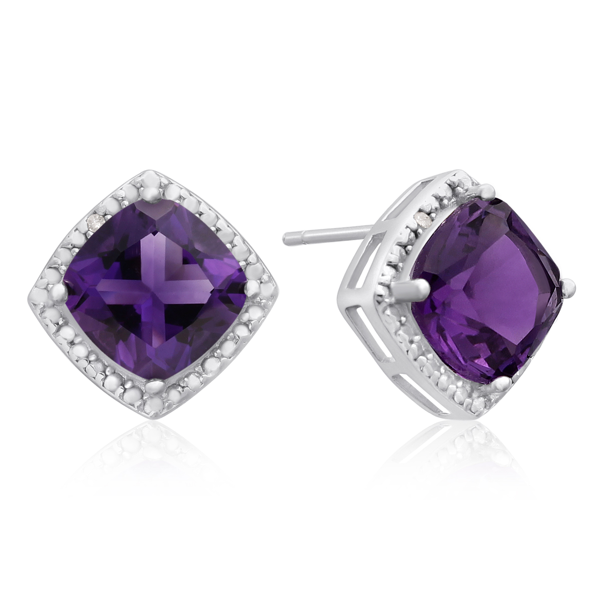3 3 4 Ct Amethyst and Diamond Earrings