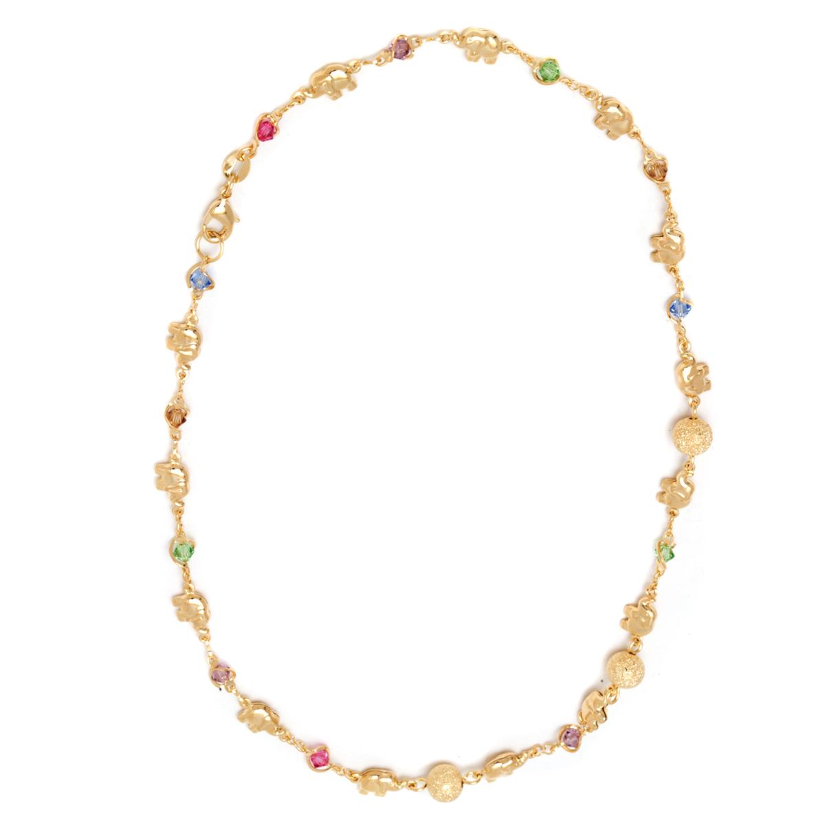 Gold  amp  Crystal Elephant Link Necklace 2700af2724cc