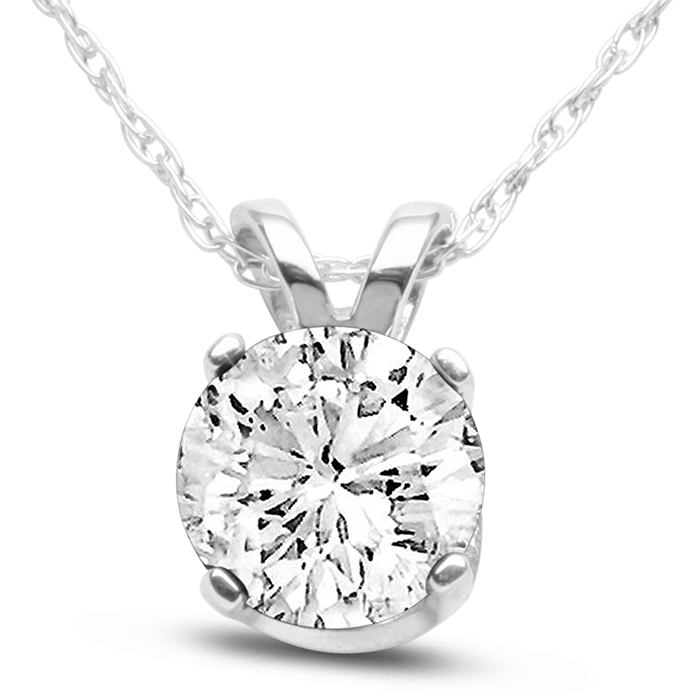 14k White Gold 3 4 Carat Genuine Diamond Solitaire Necklace