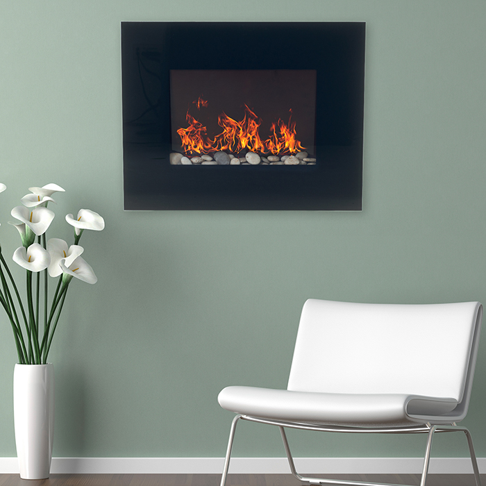 Northwest Black Glass Panel Electric Fireplace Wall Mount  amp  Remote 4c5ba2869569