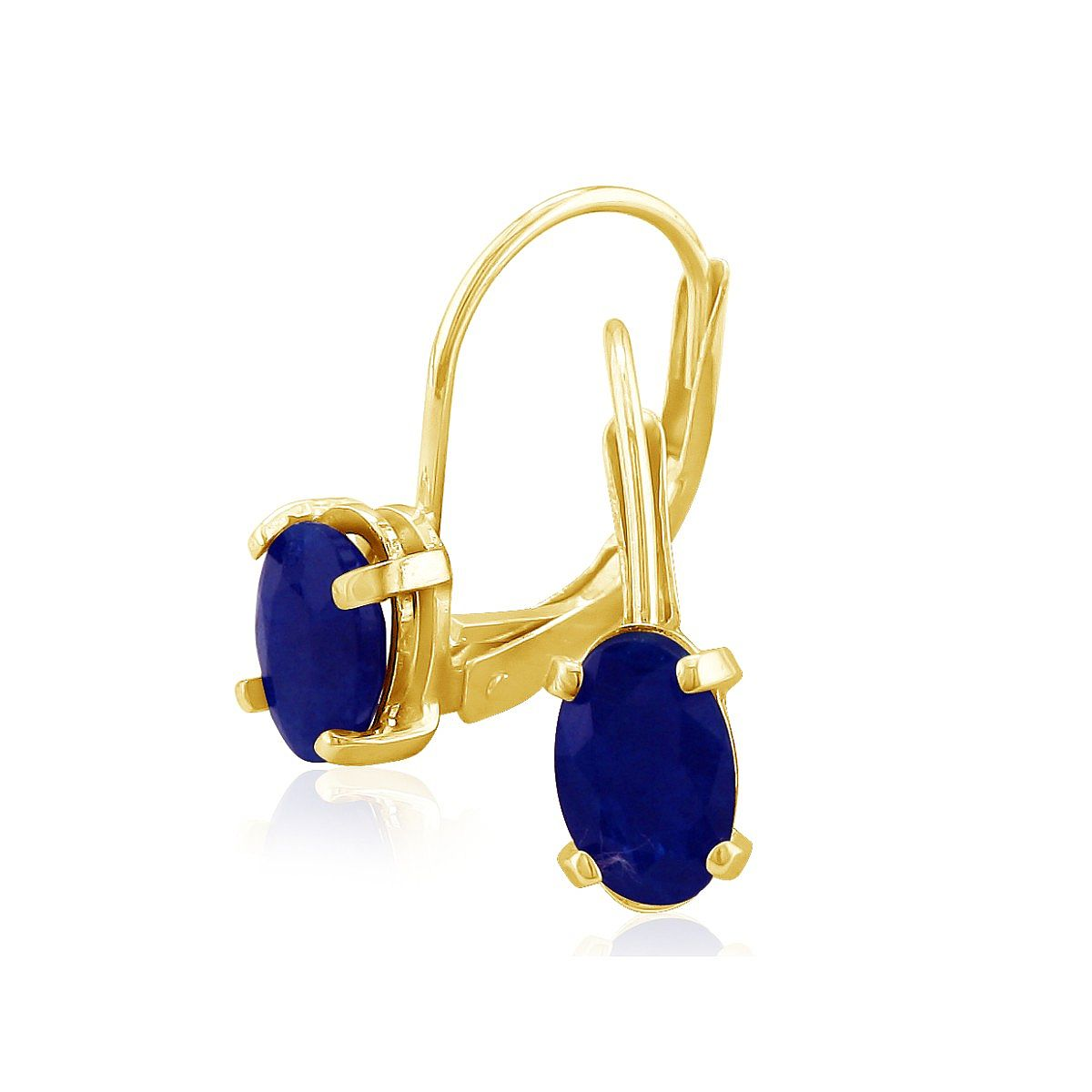 1ct Oval Sapphire Solitaire Leverback Earrings in 14k Yellow Gold