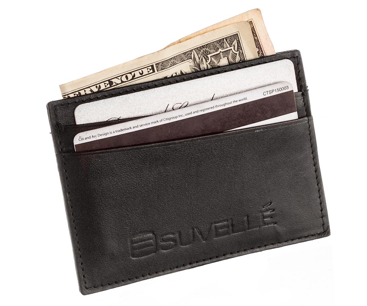 Suvelle Genuine Leather Credit Card Holder Slim Business Card Case Wallet Tanga