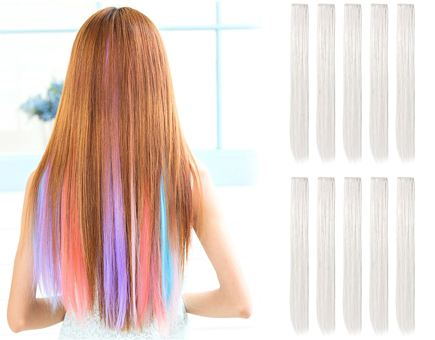"23"" Straight Colored Party Highlight Clip on in Hair ..."
