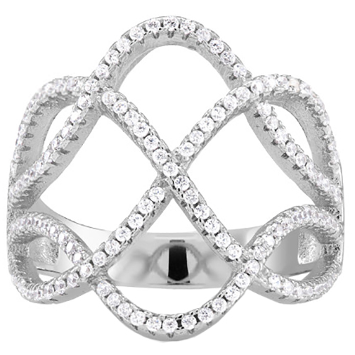Silver Swarovski Elements Ring - Intertwined Loops