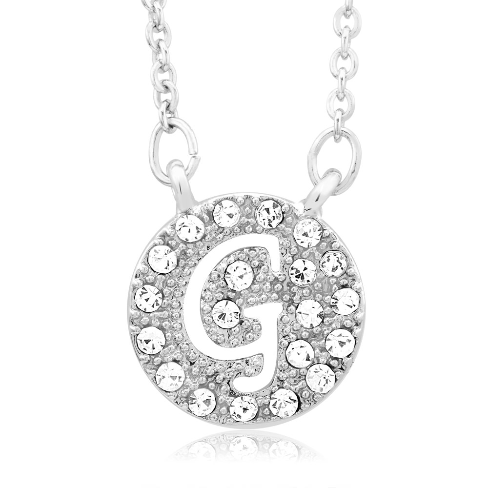 18kt White Gold Plated Swarovski Elements Initial Necklace - G