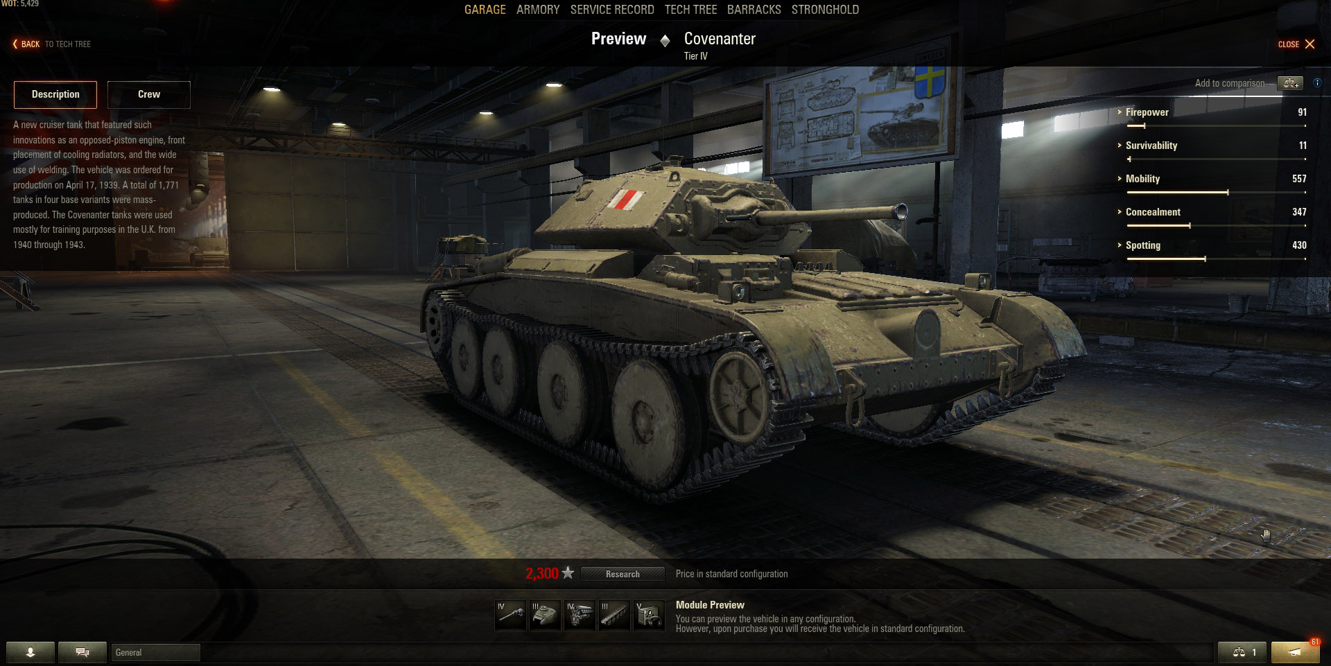 The Covenanter is a British Light tank that excels at flanking and scouting.