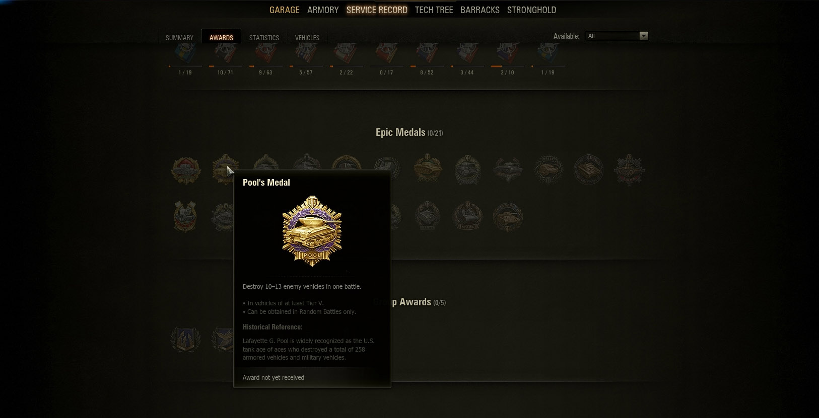 Pool's Medal in World of Tanks is an Epic Medal awarded when a player destroys ten or more tanks during a battle.
