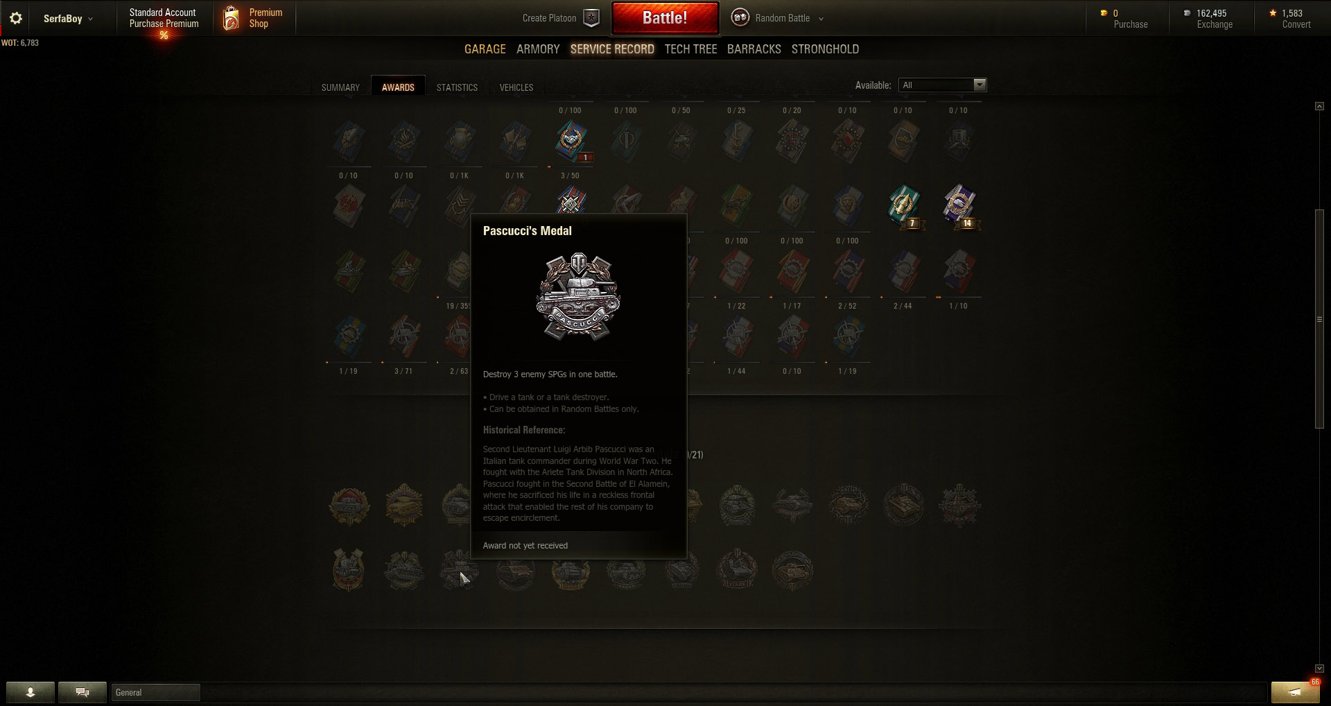 Pascucci's Medal requires players to push through the enemy lines and destroy three enemy SPGs in a single battle.