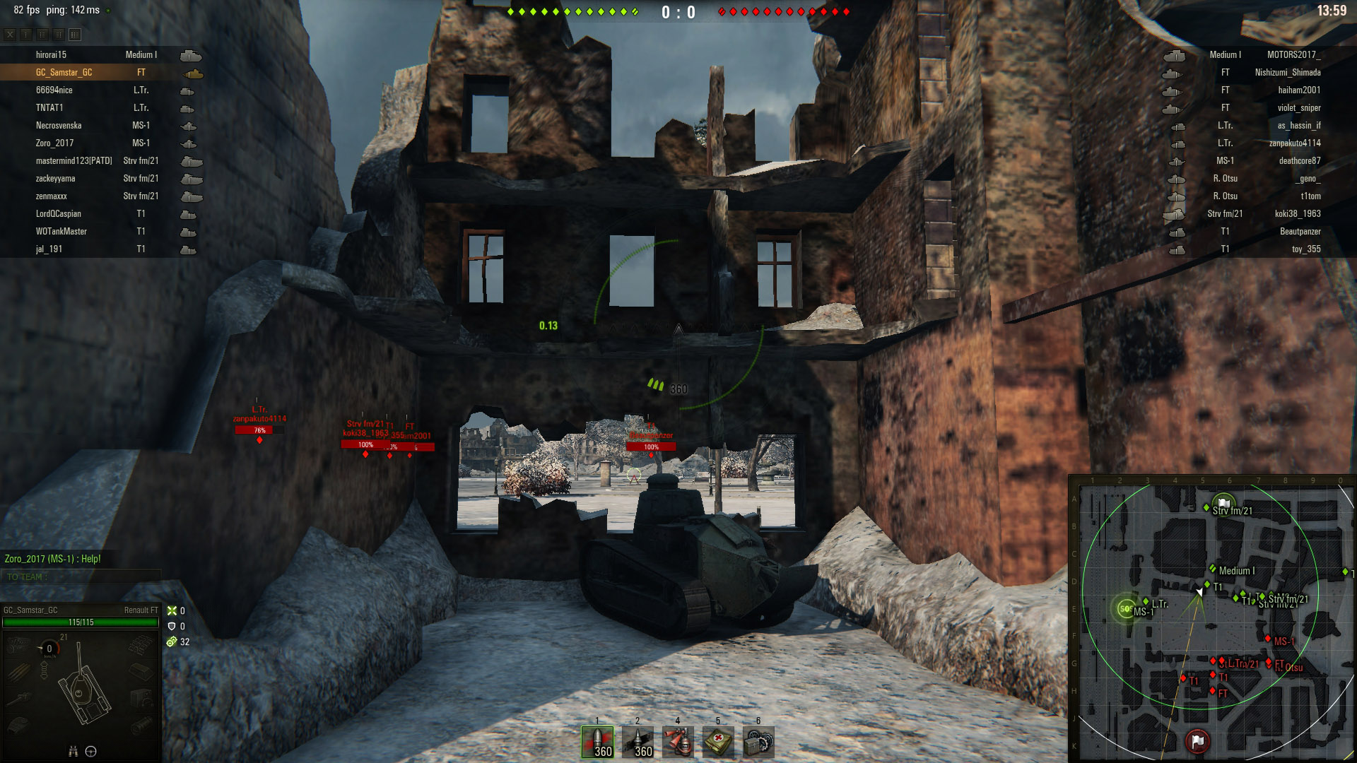 The Renault FT has a small hull and a rounded turret so it's a good idea to take advantage of this by trying to ensure only the turret is exposed.
