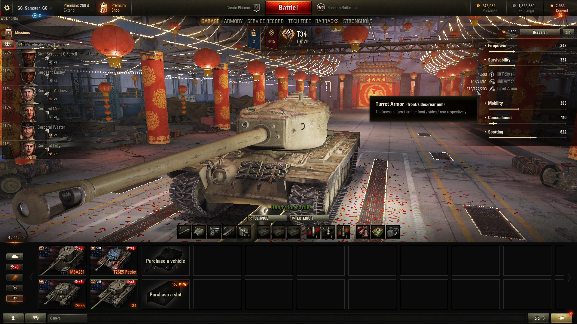 The T34 has stronger turret armor than hull armor, making a hull down position an ideal strategy.