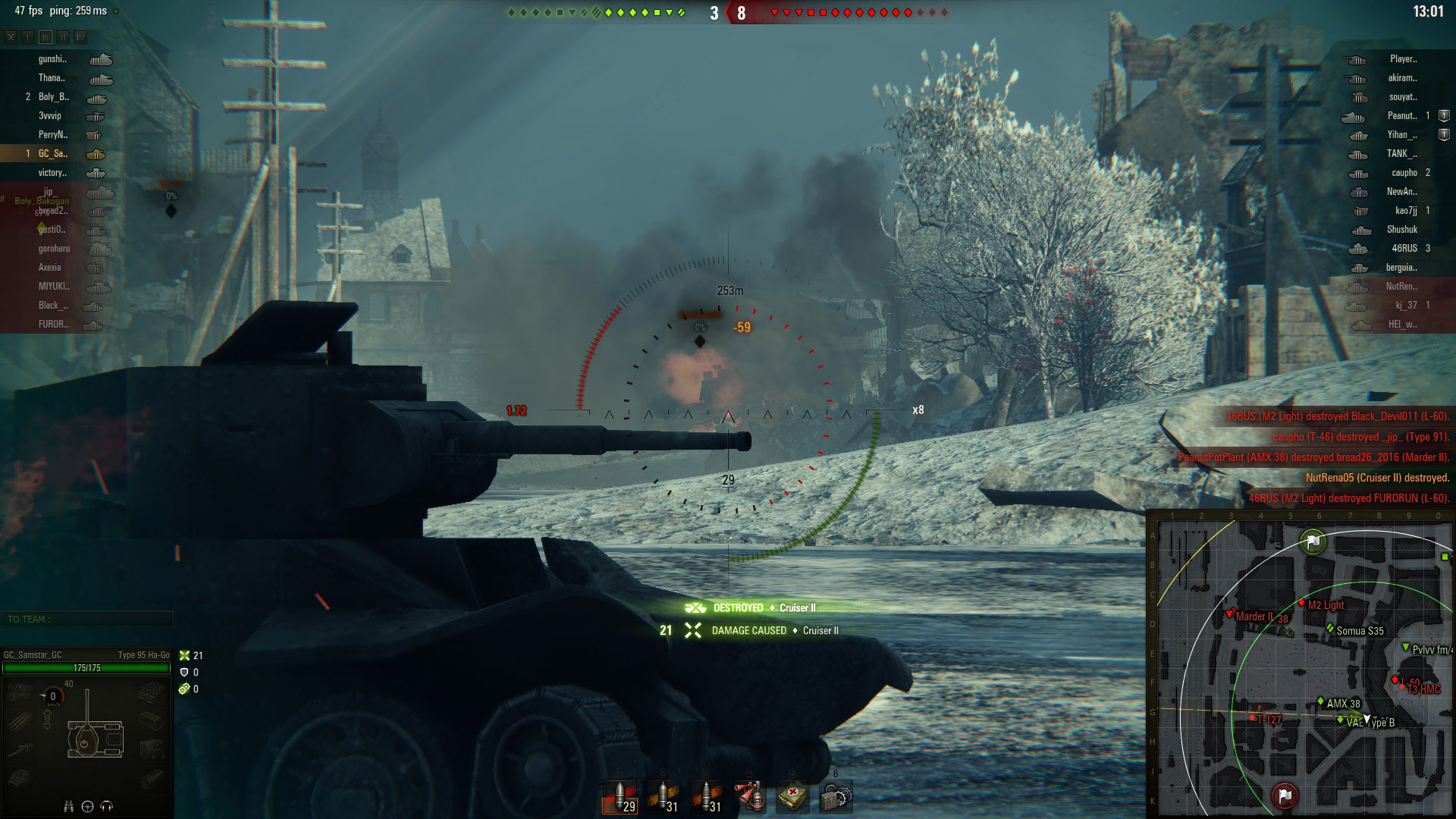 Versing anything other than Tier 2s and lightly-armored Tier 3s would be a disaster for the Type 95 Ha-Go.