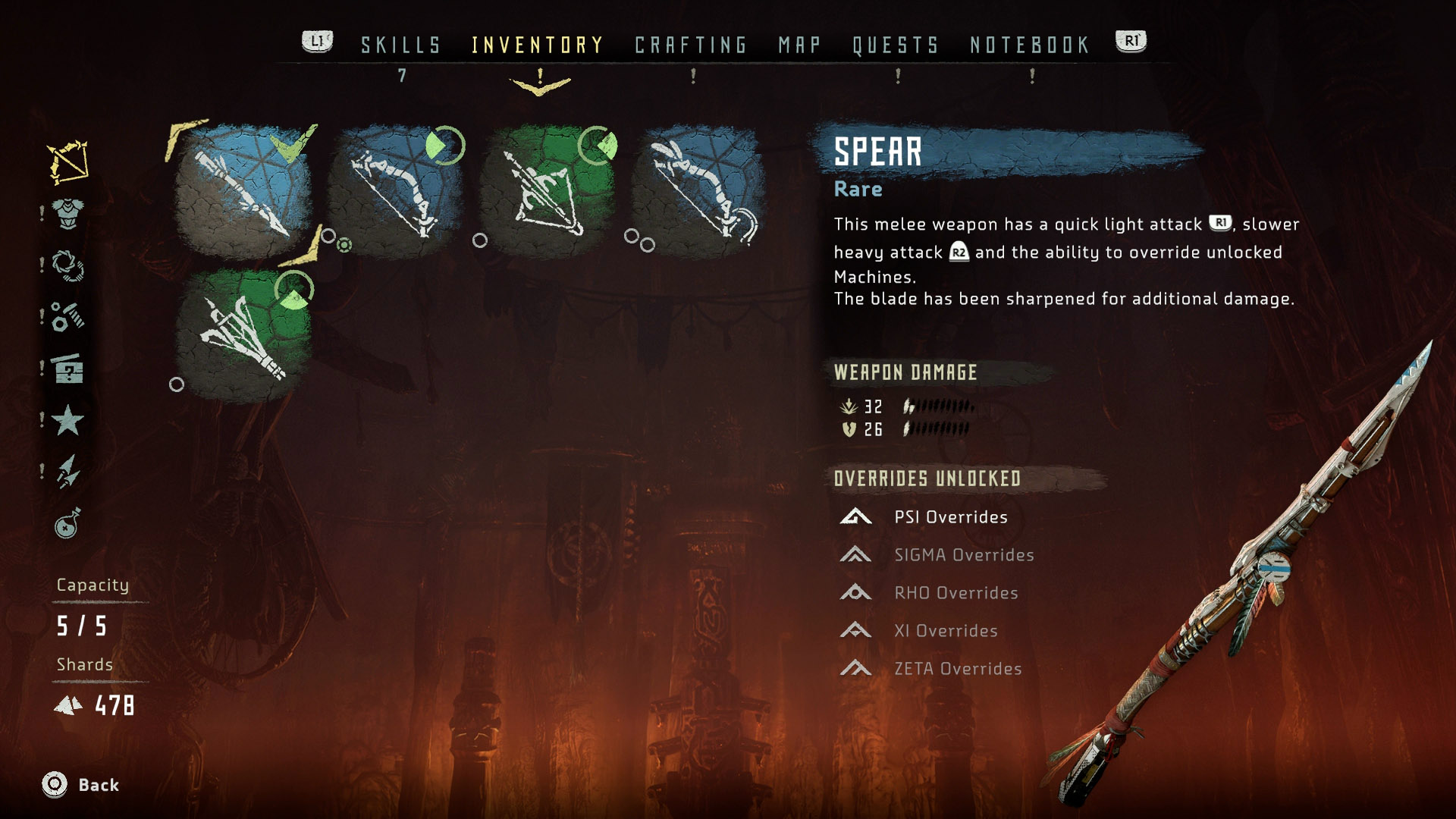 Once unlocked, the Override Device is attached to your spear.