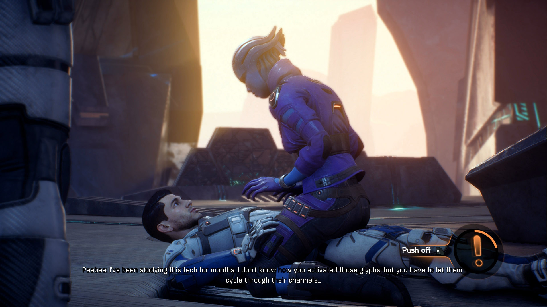It may or may not help with romancing Peebee, but we chose not to knock her off our lap when she tackled us.