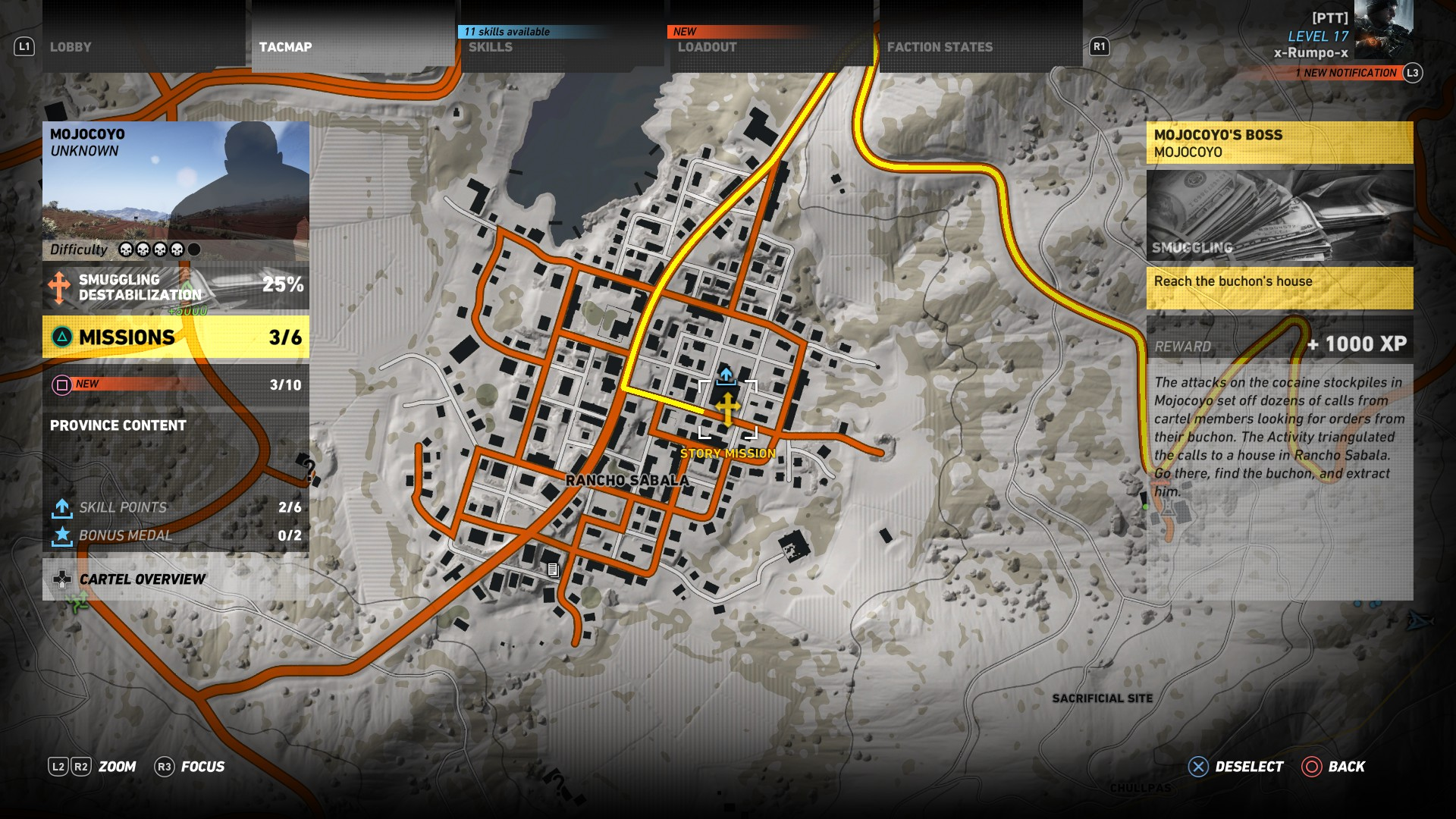 This map shows the mission area for the Mojocoyo's Boss mission in Ghost Recon Wildlands