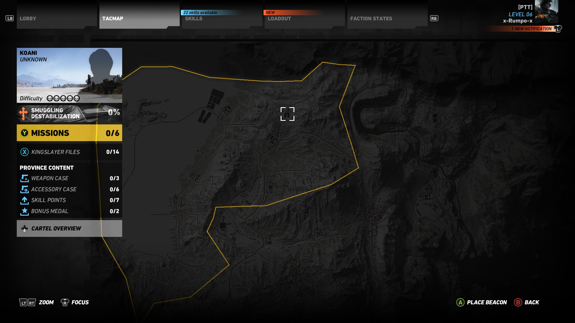 This image shows the location of Huertas Mine, where you'll find the T5Xi Tactical.
