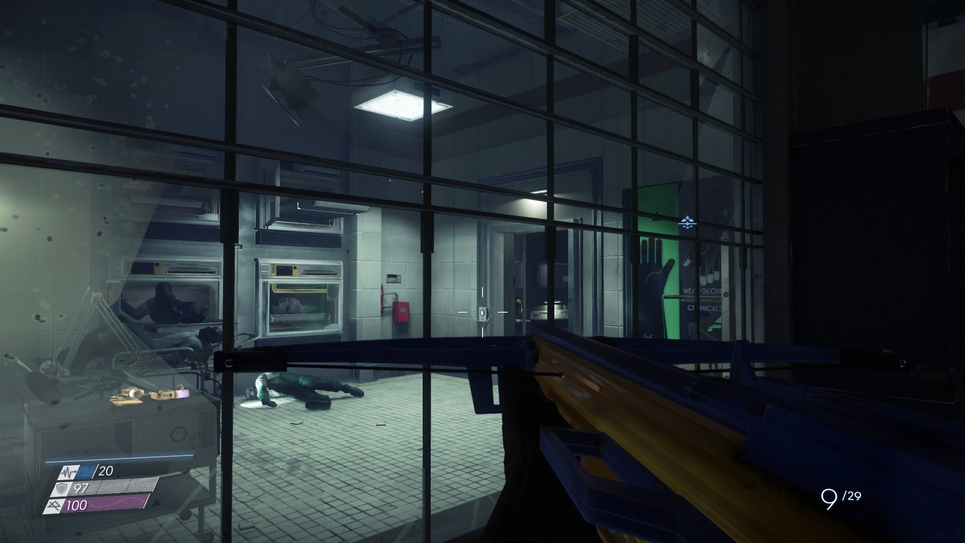 Use the Huntress Boltcaster to shoot a foam dart at the button beside the door, this will let you enter the Morgue.