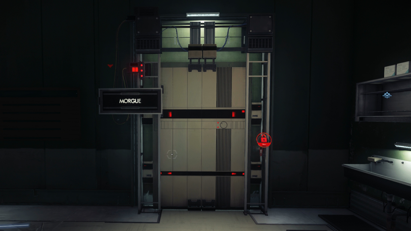 After making your way through the Psychotronics, you will come across a Morgue that is locked by keycard.