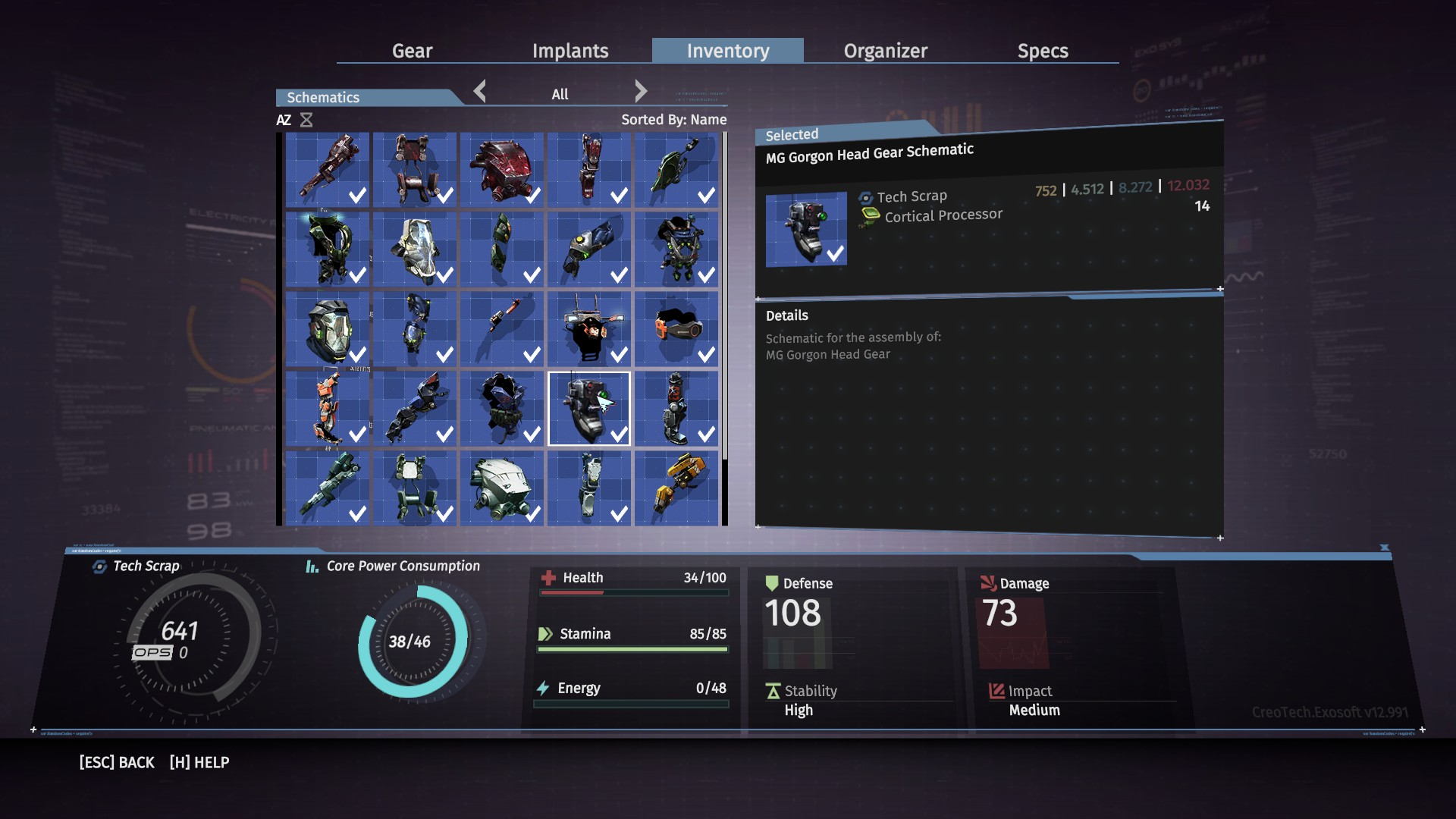 The Schematics tab shows all the Schematics you've been able to collect in The Surge.