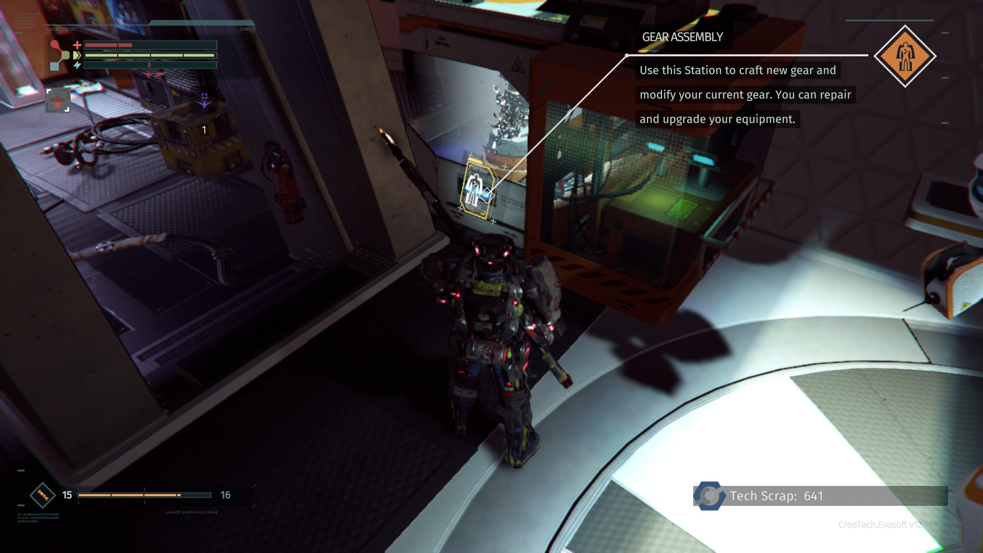 The Gear Assembly machine is where you can upgrade weapons and armor in The Surge.