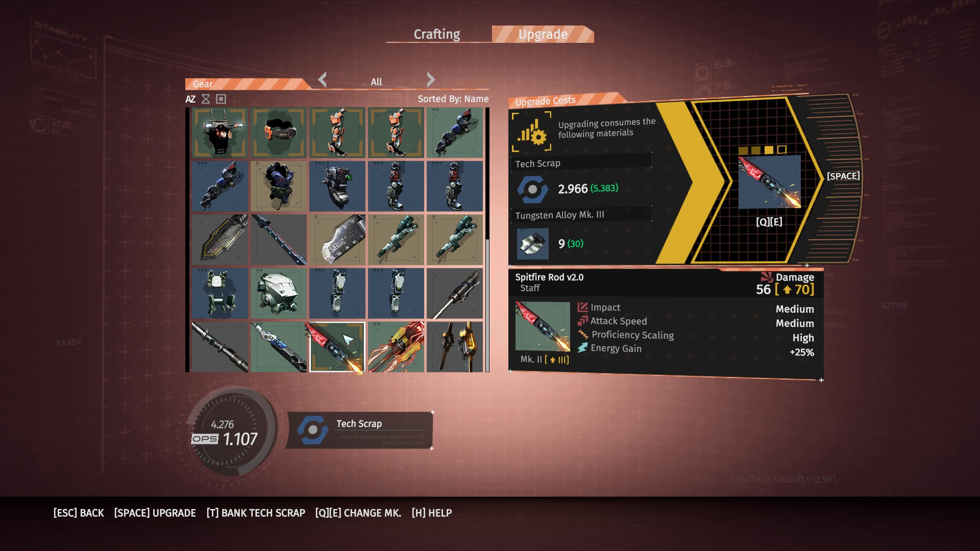 The Upgrade tab shows all gear you own, highlighting an item shows you what you need to upgrade it, including: Tech Scrap required, Components needed, and what Mark to choose.
