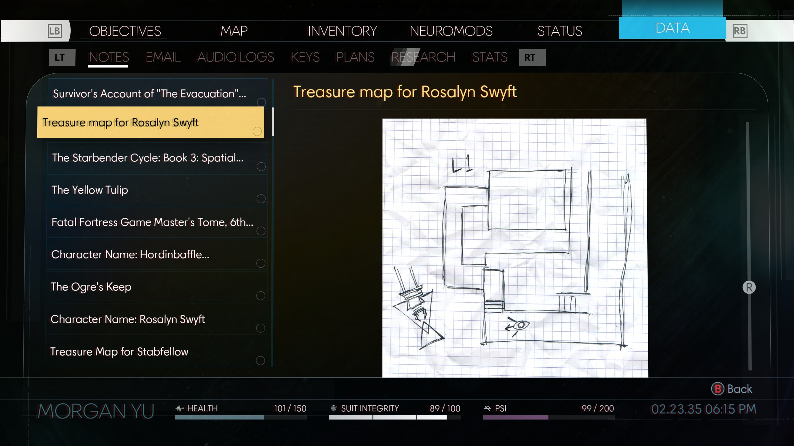 Emma Beatty's Treasure Map is on her and will say Rosalyn Swyft on it.