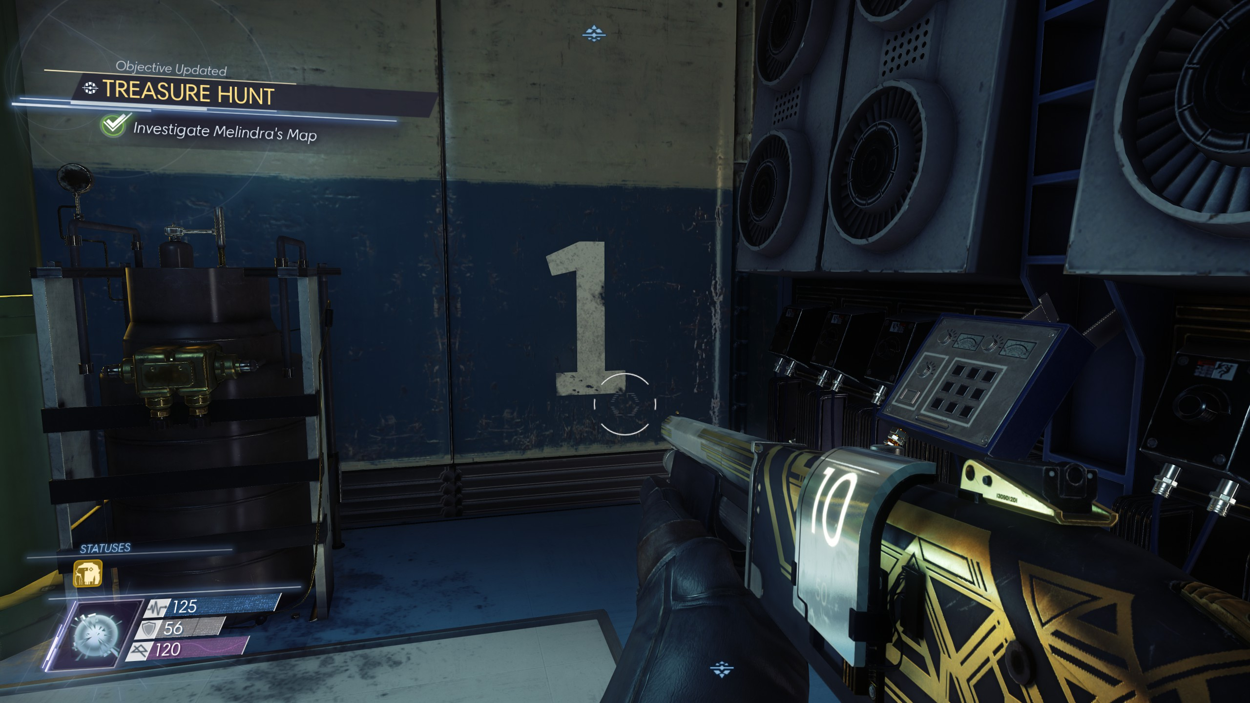 When you find the number on the wall, you'll complete the investigate Melindra's map objective.