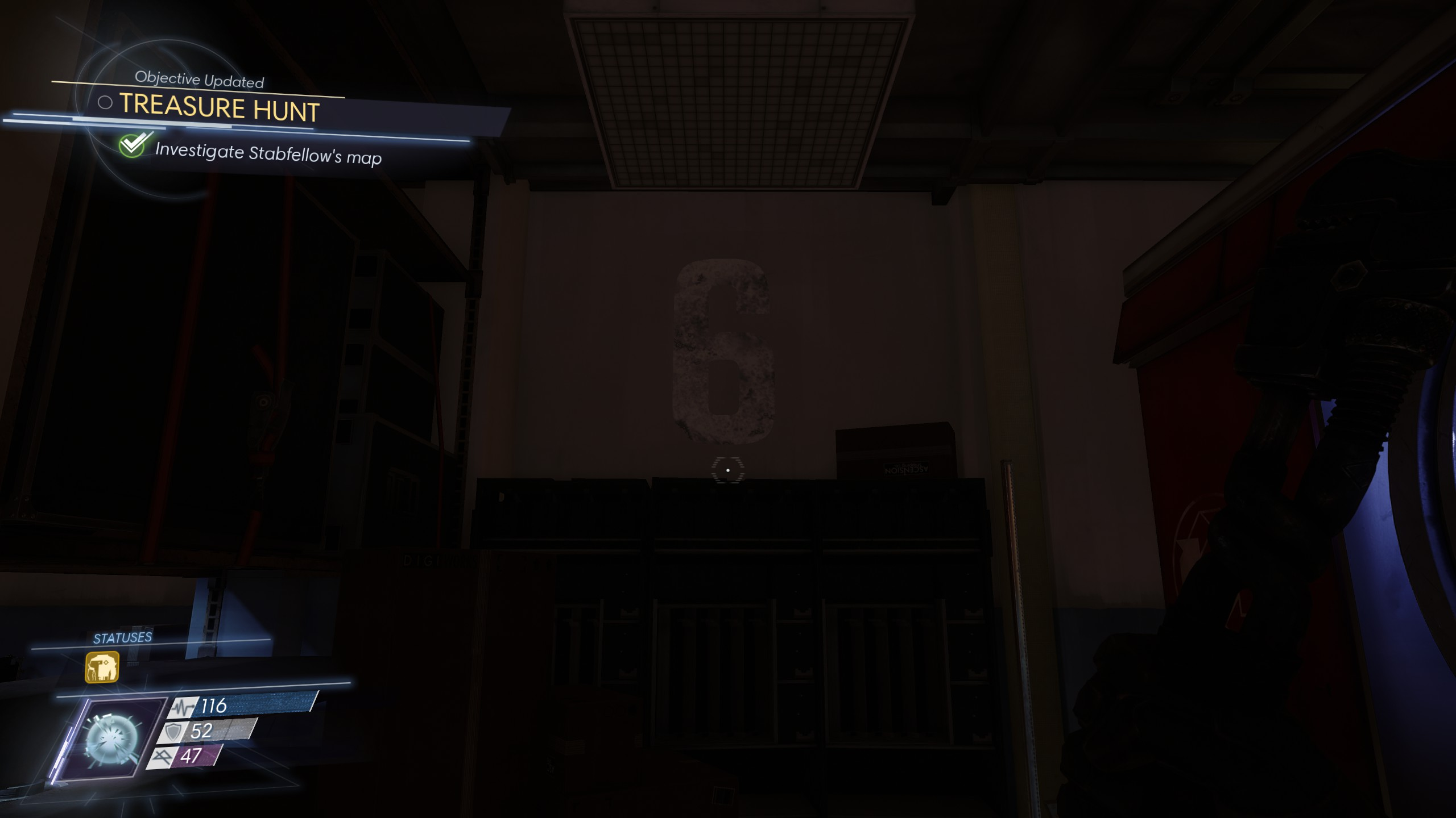 The easiest number to find belongs to Stabfellow. Head to the second floor of the Crew Quarters to find it in the room with the Recycler.