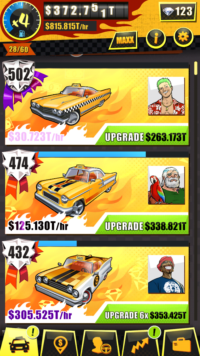 Drivers that aren't in their favorite taxis will earn less. The first five taxis will have to be filled by whatever drivers you can spare, as you will likely not unlock them until later in the game.