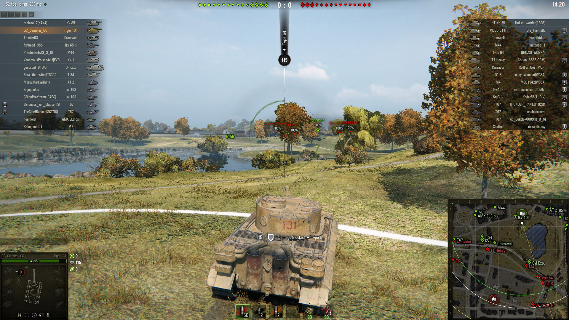 Wiggling the thin hull armor of the Tiger 131 or its thick mantlet armor can result in successful bounces.