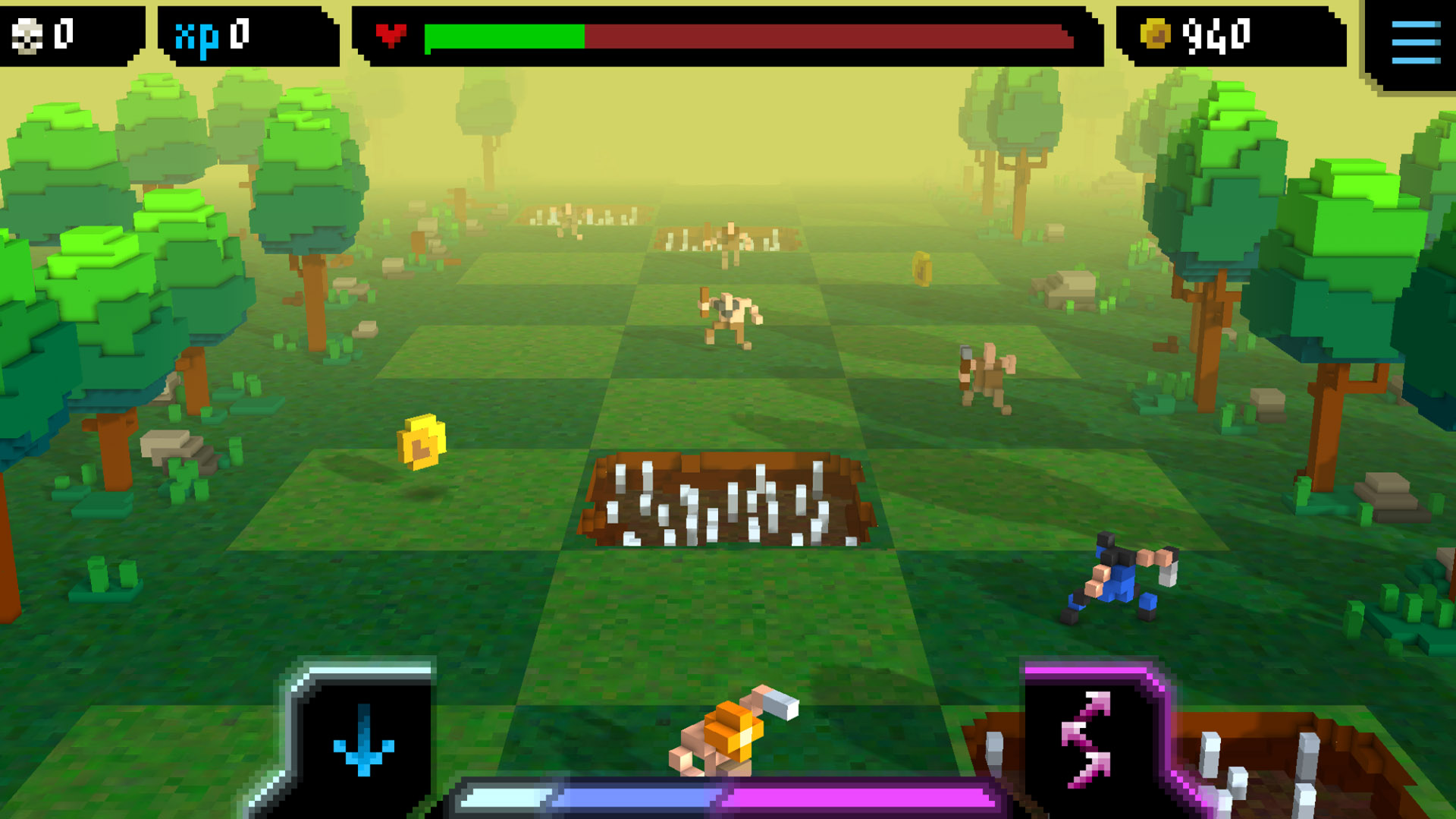 By jumping off the left side and then right side, the player can grab the Gold coin and kill the enemy in two jumps.