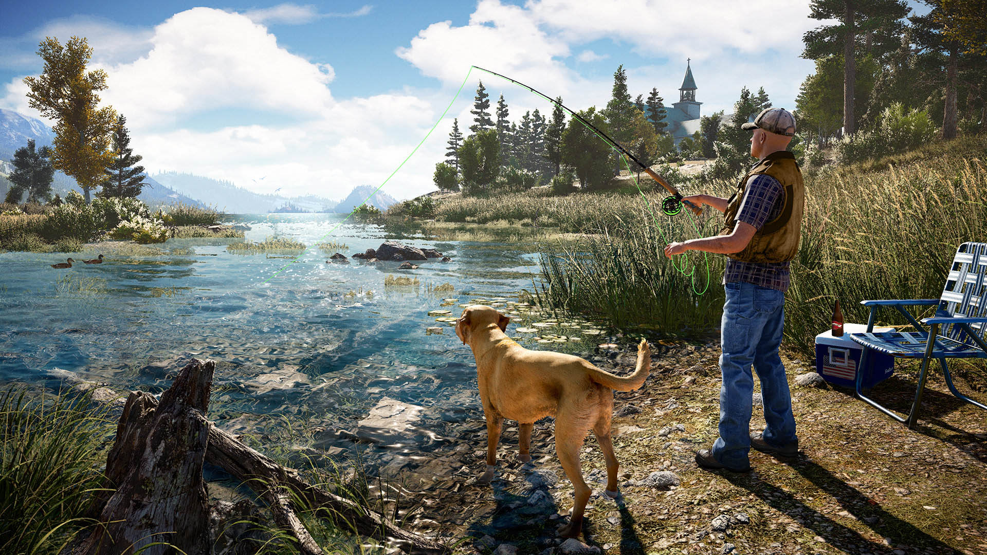 Fishing alongside your dog, Boomer, will be one way to get away from the trouble of killing cultists.