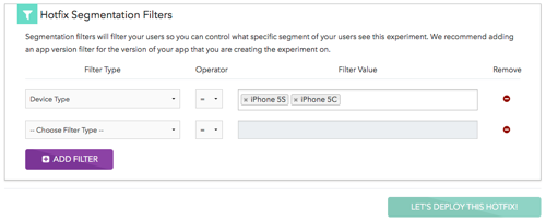 Taplytics Mobile App Hotfix Segmentation Filters