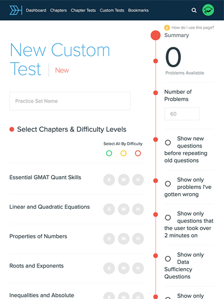 A tool to create custom GMAT practice tests allows you to practice what you need