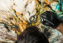 لوحات لحيوانات مرسومة من خلال رمي الألوان