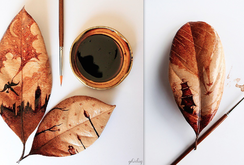فنان اندونيسي يرسم بالقهوة على أوراق الشجر لوحات فنية مذهلة