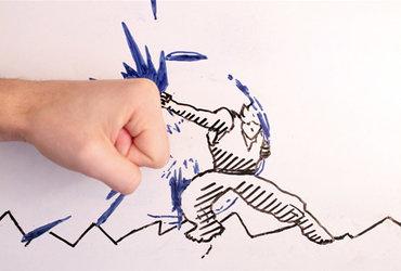 فيديو مسلي لرسوم متحركة تعارك يد راسمها