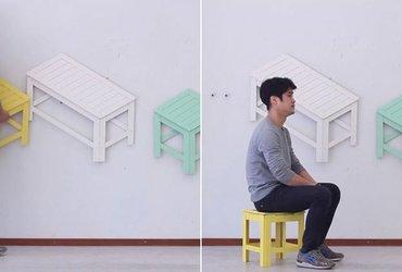 قطع أثاث تتحول إلى أشكال ثنائية الأبعاد تعلق على الجدران