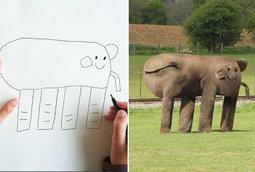 رسومات بسيطة لطفل تأتي إلى الواقع